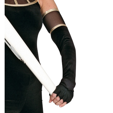 Elegance Mitts: Above-the-Elbow with Mesh and Metallic Trim