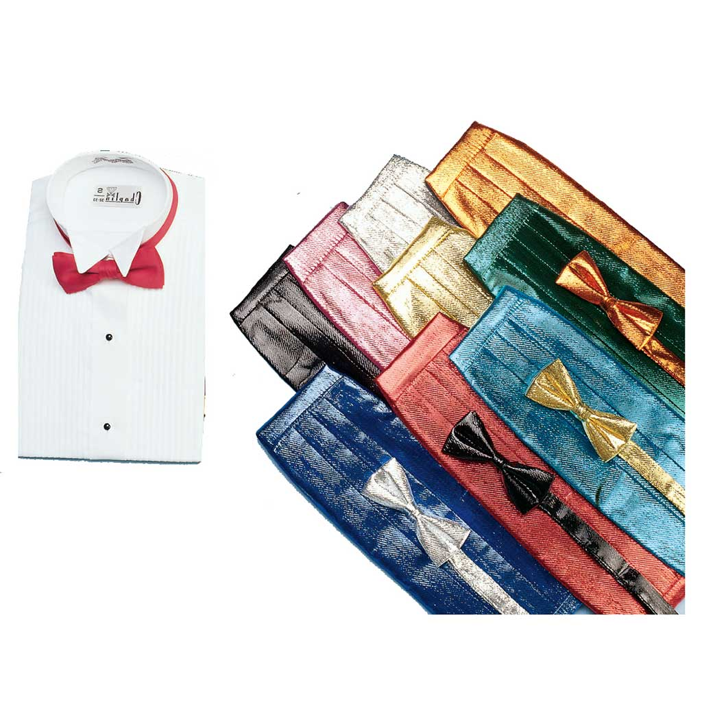Metallic Tie, Cummerbund, and Wing-Collar Dress Shirt