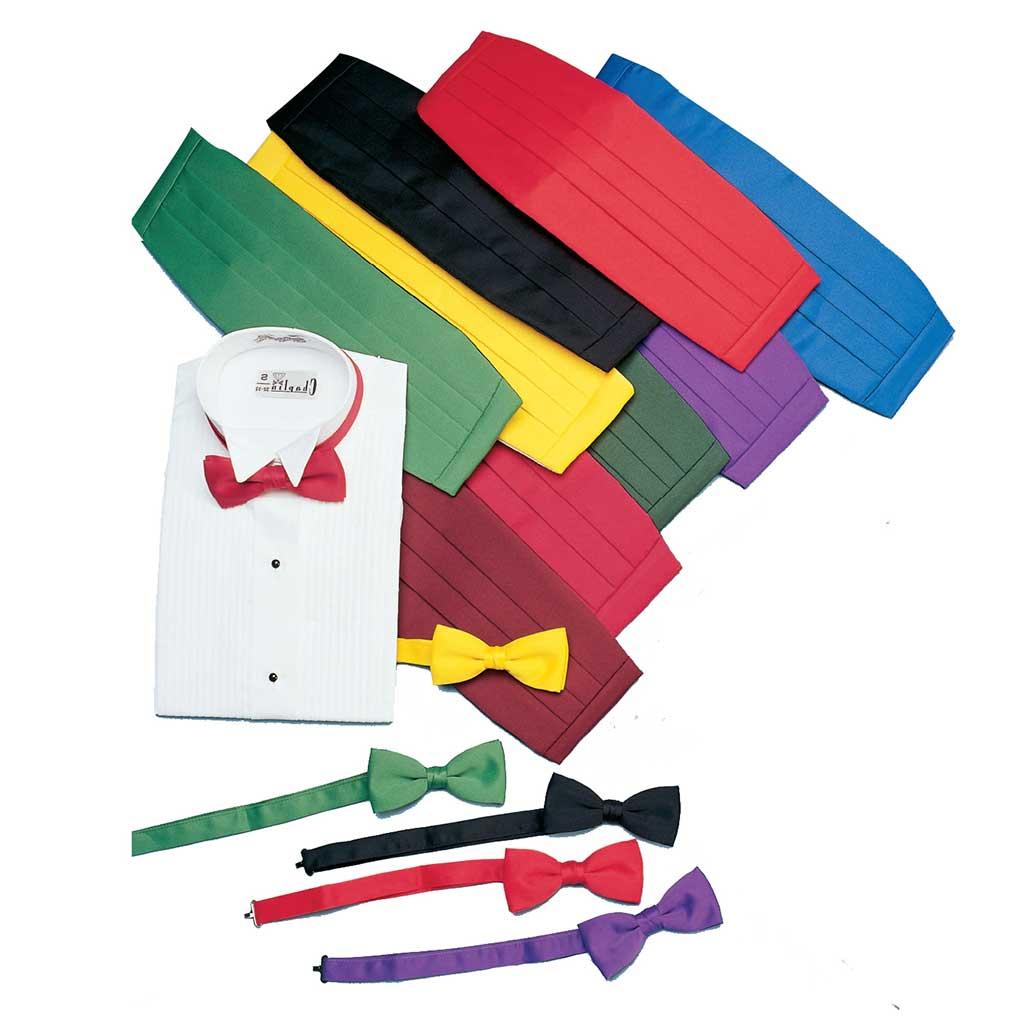 Satin Tie, Cummerbund, and Wing-Collar Dress Shirt